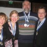 Eduskunnan hiihtojoukkue parlamenttien välisessä hiihtokisassa Vaasassa 12.2.2011